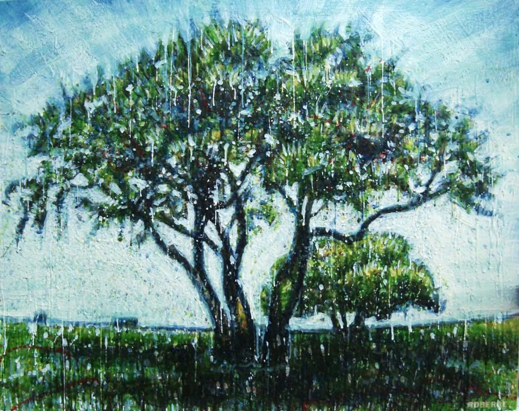 Love tree<br>Encaustic on panel -  32x40