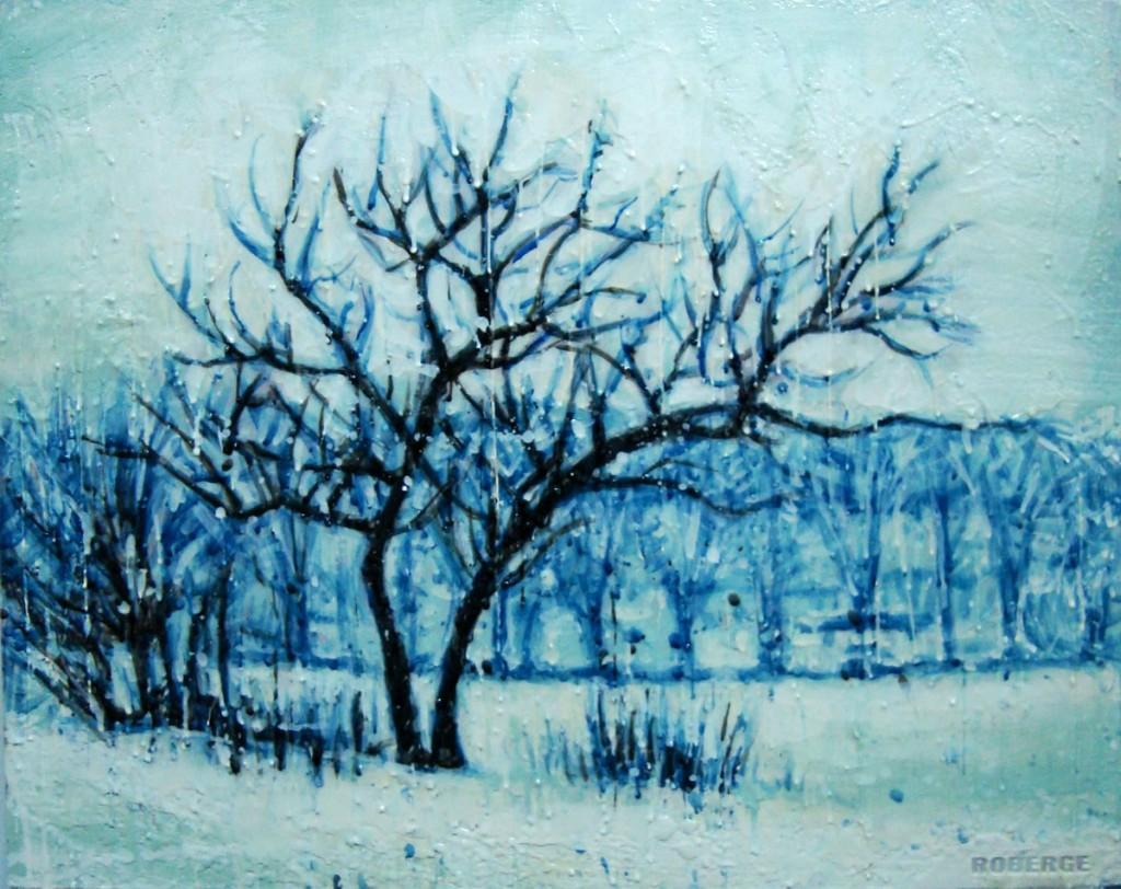Petit hiver<br>Encaustic on panel -  20x24